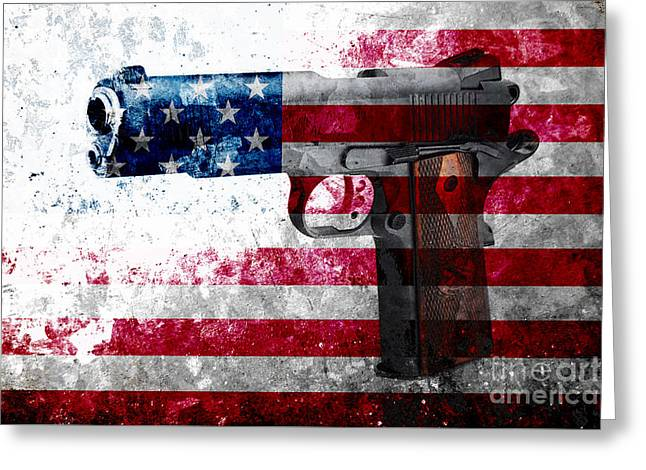 M1911 Colt 45 And American Flag On Distressed Metal Sheet Greeting Card