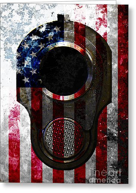 M1911 Colt 45 Muzzle And American Flag On Distressed Metal Sheet Greeting Card