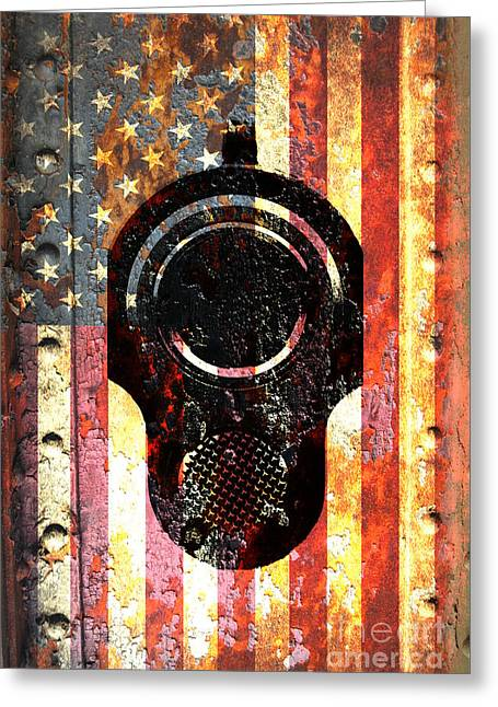 M1911 Colt 45 On Rusted American Flag Greeting Card