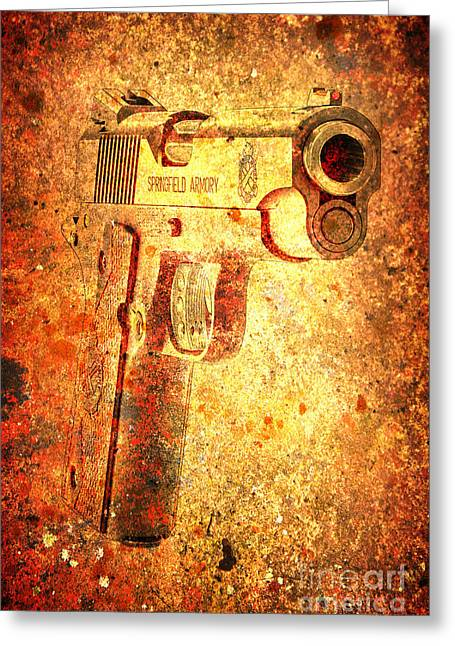 M1911 Muzzle On Rusted Background 3/4 View Greeting Card