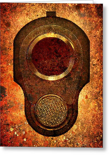 M1911 Muzzle On Rusted Background Greeting Card