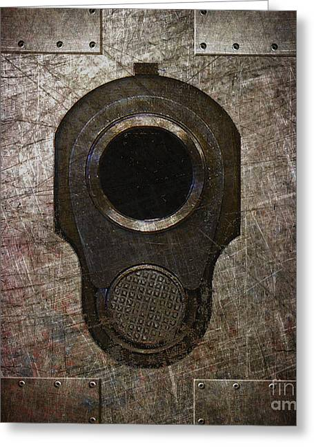 M1911 Muzzle On Rusted Riveted Metal Dark Greeting Card