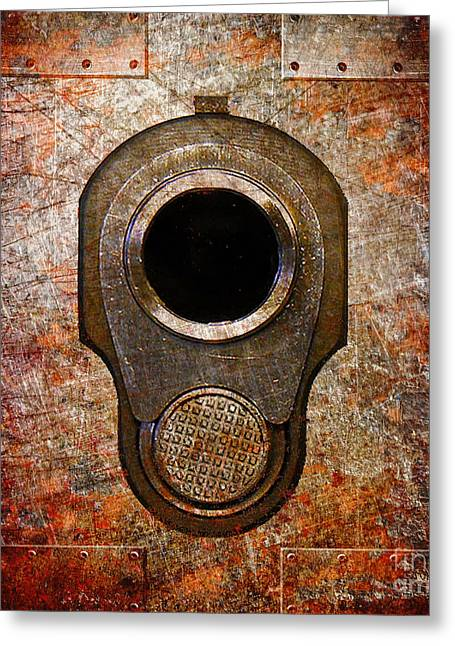 M1911 Muzzle On Rusted Riveted Metal Greeting Card