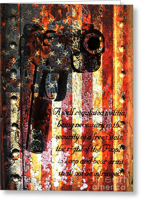 M1911 Pistol And Second Amendment On Rusted American Flag Greeting Card