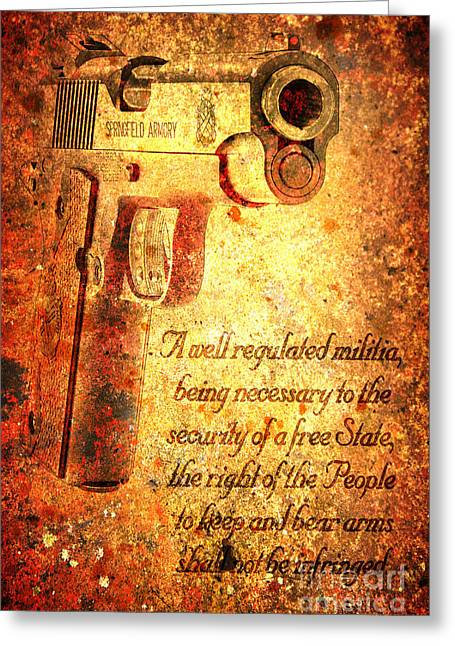 M1911 Pistol And Second Amendment On Rusted Overlay Greeting Card