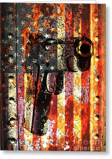 M1911 Silhouette On Rusted American Flag Greeting Card
