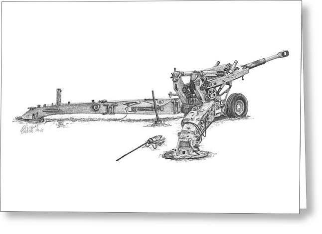 Greeting Card featuring the drawing M198 Howitzer - Standard Size Prints by Betsy Hackett
