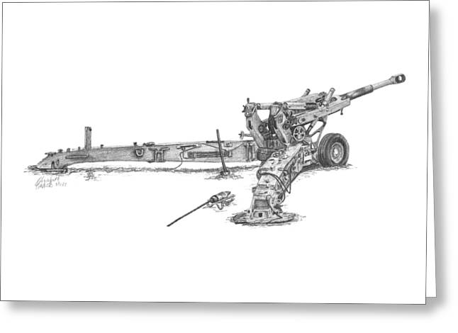 Greeting Card featuring the drawing M198 Howitzer - Natural Sized Prints by Betsy Hackett