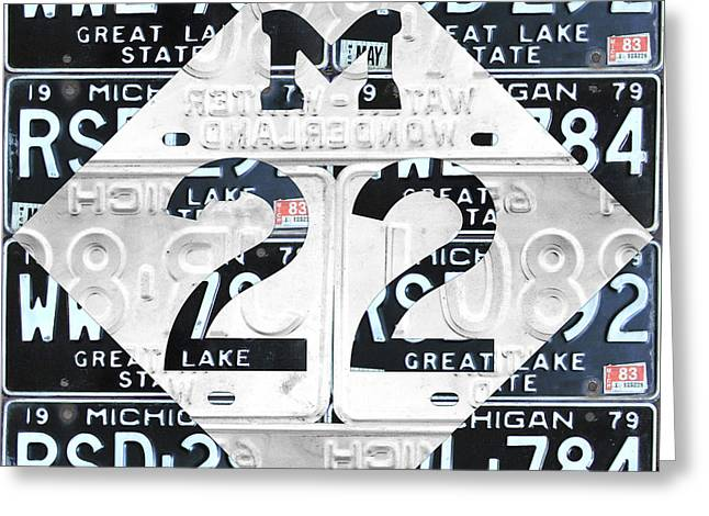 M22 Michigan Highway Symbol Recycled Vintage Great Lakes State License Plate Logo Art Greeting Card by Design Turnpike
