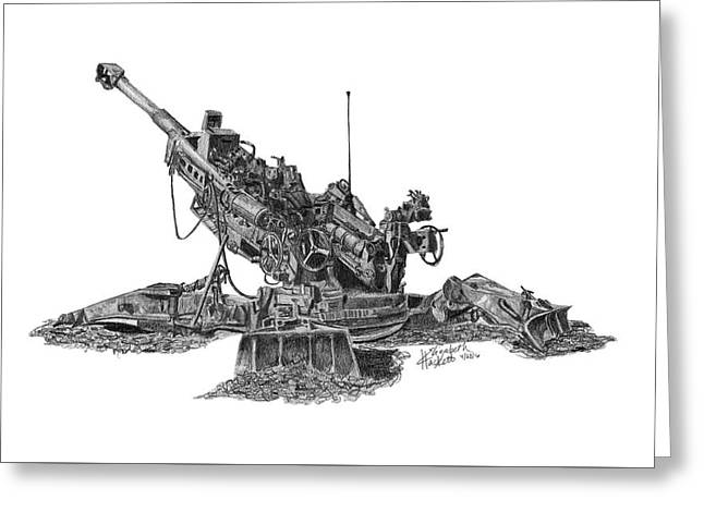 Greeting Card featuring the drawing M777a1 Howitzer by Betsy Hackett
