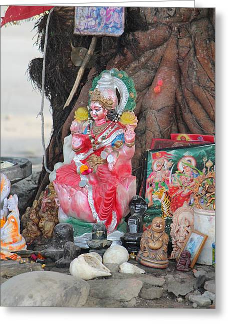 Ma Durga Tree Temple, Haridwar Greeting Card by Jennifer Mazzucco