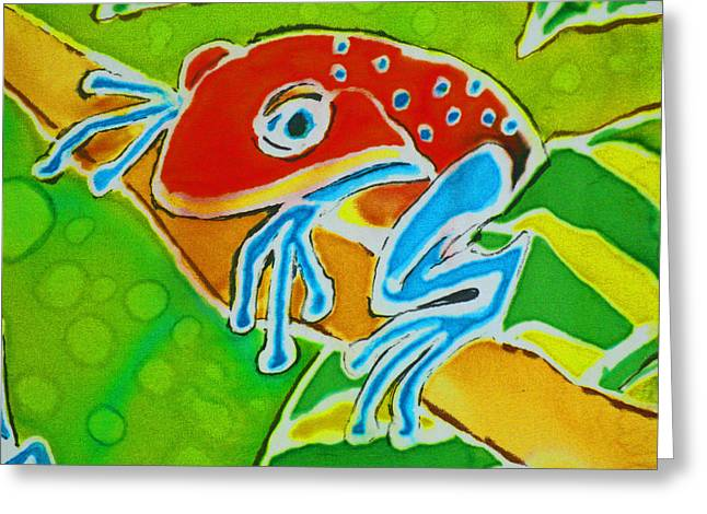 Tropical Rainforests Mixed Media Greeting Cards - Ma Froggy Just Hangin  Greeting Card by Kelly     ZumBerge