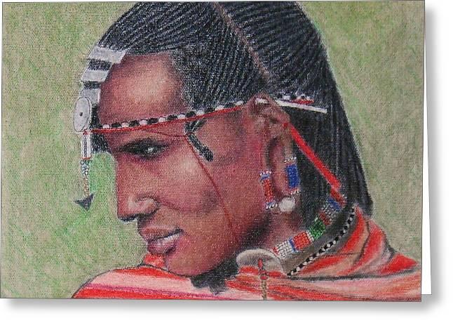 Maasai Warrior II -- Portrait Of African Tribal Man Greeting Card