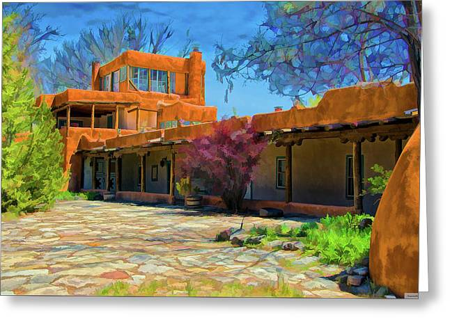 Mabel's Courtyard As Oil Greeting Card