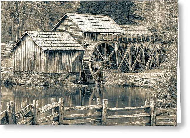 Mabry Mill In Black And White Greeting Card by Gregory Ballos