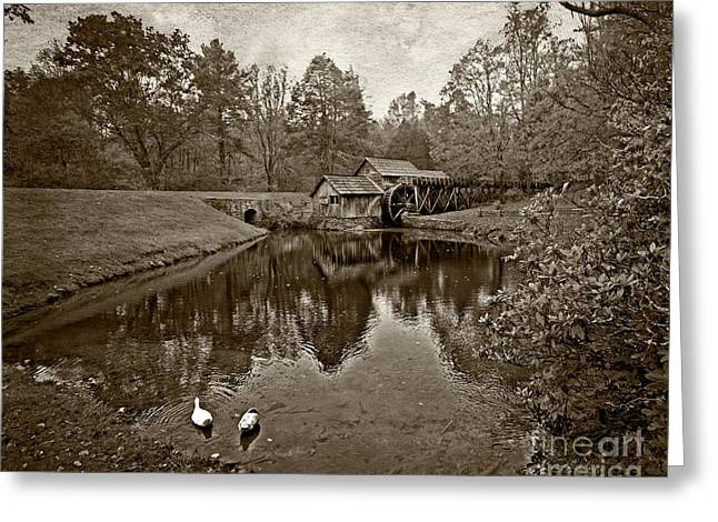 Mabry Mill In Black And White Greeting Card by Tom Gari Gallery-Three-Photography