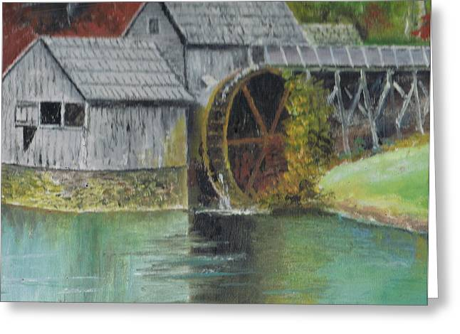 Mabry Mill In Virginia Usa Close Up View Of Painting Greeting Card by Anne-Elizabeth Whiteway