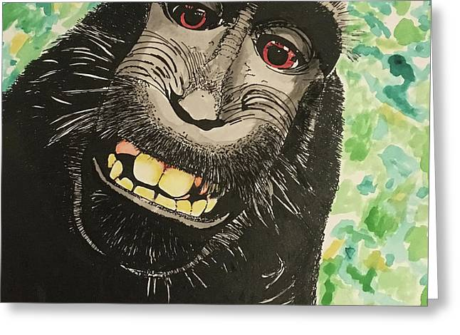 Macaque Monkey Greeting Card