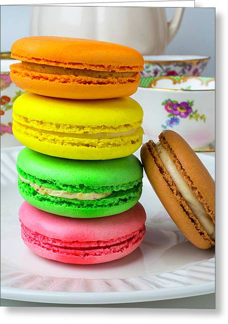 Macaroons On White Plate Greeting Card by Garry Gay