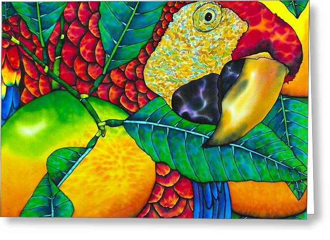Macaw Close Up - Exotic Bird Greeting Card by Daniel Jean-Baptiste