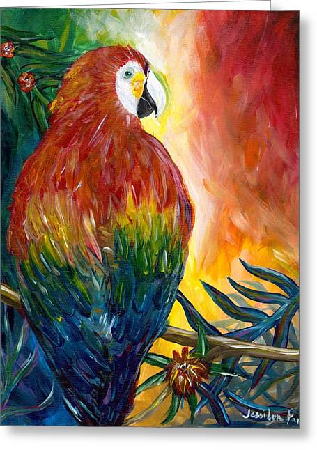 Macaw Greeting Card by Jessilyn Park