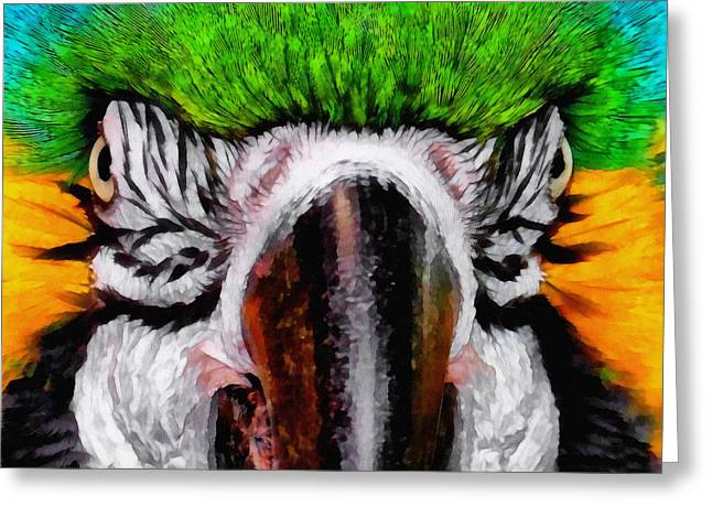 Macaw Upclose Greeting Card by Ernie Echols