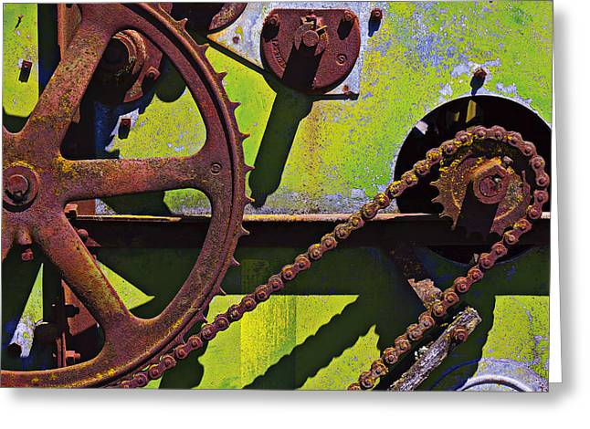Rotation Greeting Cards - Machinery gears  Greeting Card by Garry Gay