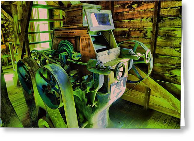Machinery In An Old Grist Mill Greeting Card