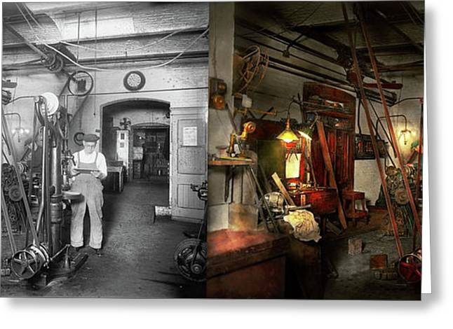 Greeting Card featuring the photograph Machinist - Government Approved 1919 - Side By Side by Mike Savad