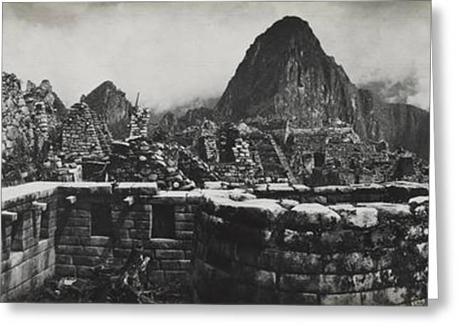 Machu Picchu Ruins On A Semicircular Greeting Card by Hiram Bingham