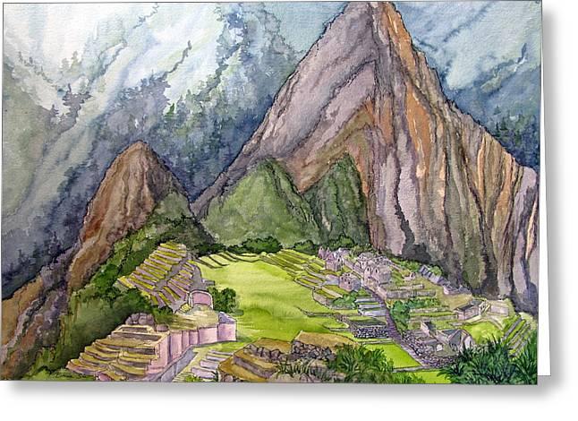Machu Picchu Greeting Cards - Machu Picchu the Lost City of the Incas Greeting Card by Bonnie Sue Schwartz