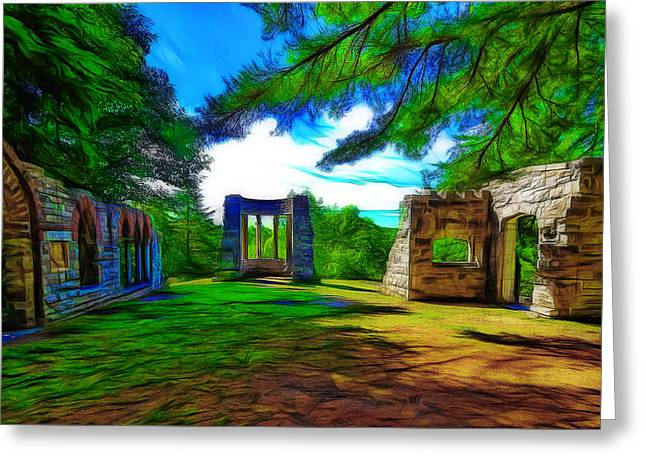 Mackenzie King Estates Ruins Greeting Card by Jean-Marc Lacombe