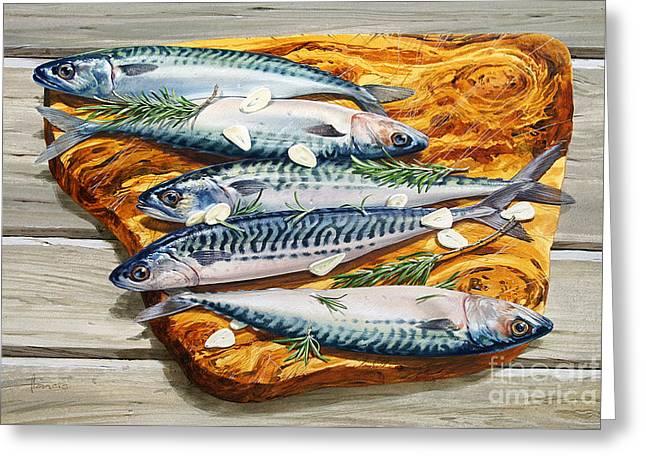 Mackerel On Board Greeting Card by John Francis