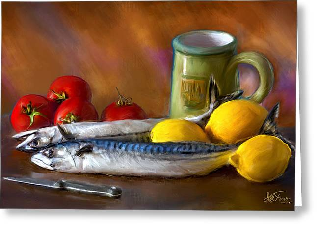 Mackerels, Lemons And Tomatoes Greeting Card