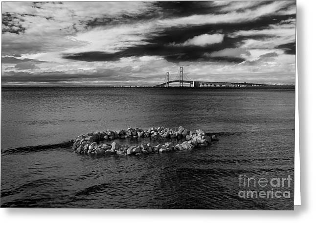 Mackinac Bridge - Infrared 03 Greeting Card