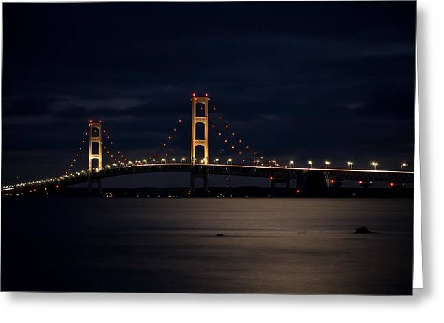 Mackinac Bridge At Night Greeting Card