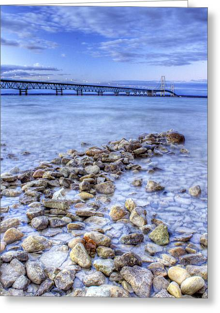 Mackinac Bridge From The Beach Greeting Card