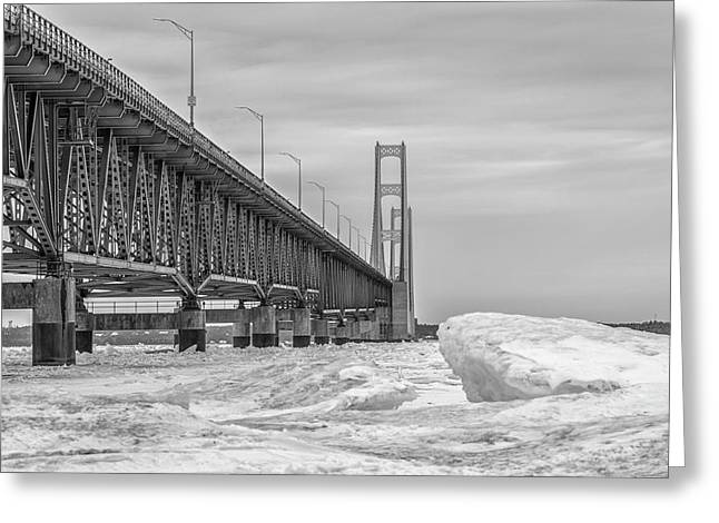 Greeting Card featuring the photograph Mackinac Bridge Icy Black And White  by John McGraw