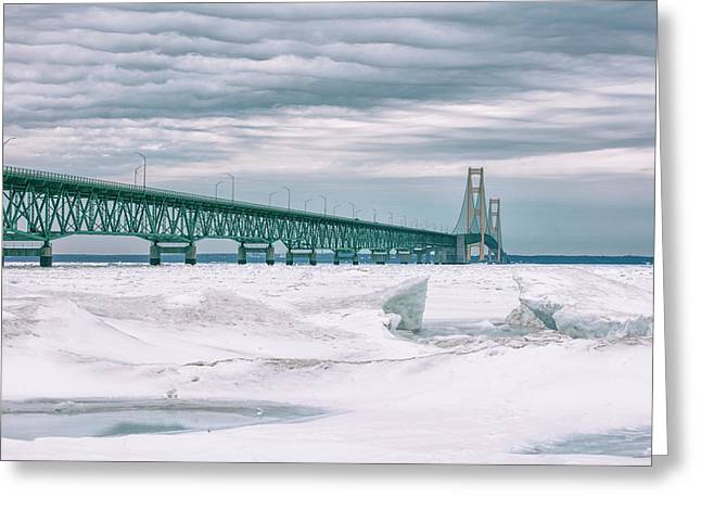 Greeting Card featuring the photograph Mackinac Bridge In Winter During Day by John McGraw
