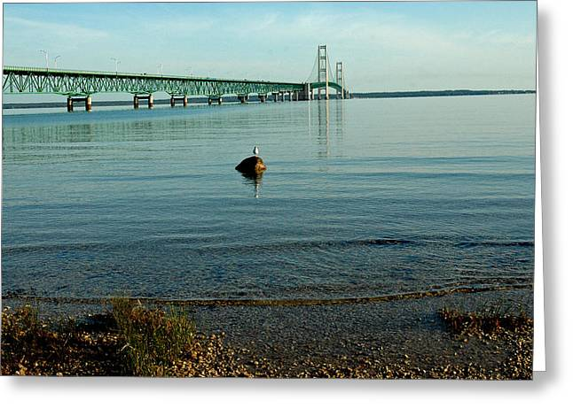 Greeting Card featuring the photograph Mackinac Bridge Michigan by LeeAnn McLaneGoetz McLaneGoetzStudioLLCcom