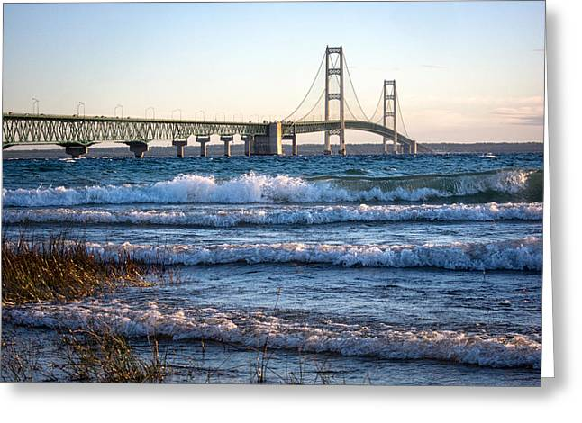 Greeting Card featuring the photograph Mackinac Bridge Michigan by Mary Lee Dereske