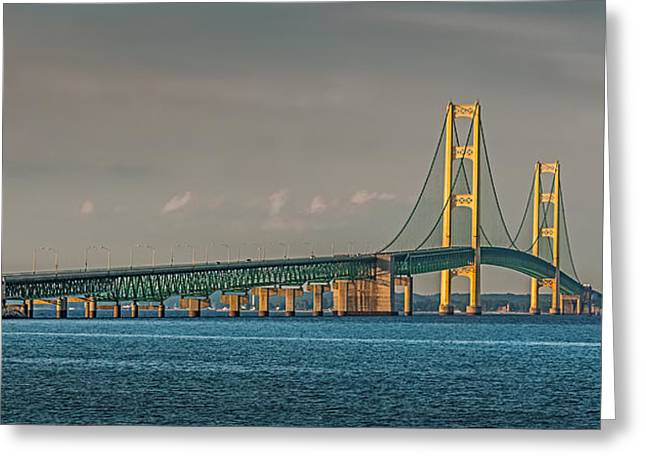 .mackinac Bridge Greeting Card by Paul Freidlund