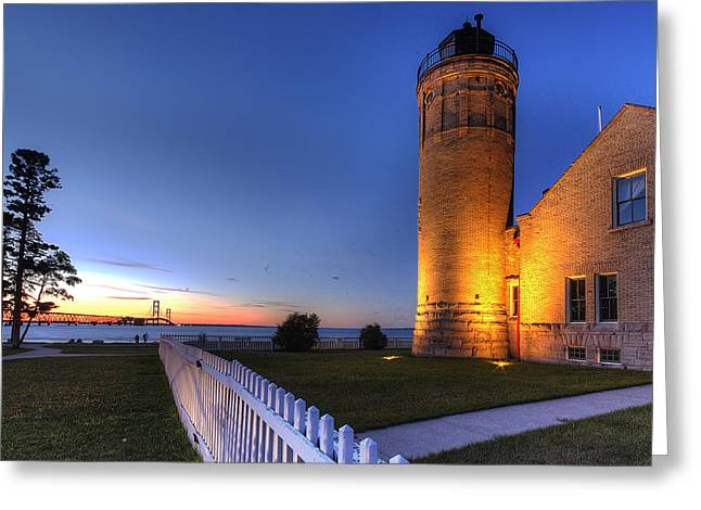 Mackinac Lighthouse And Bridge Greeting Card by Twenty Two North Photography