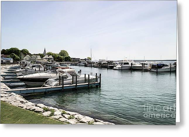 Mackinac Marina Art Greeting Card