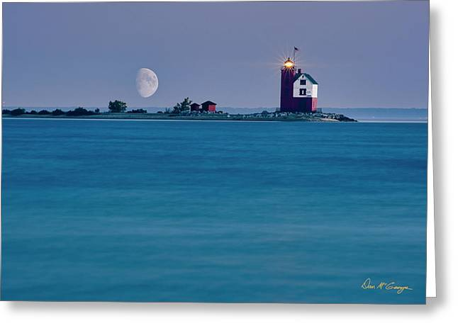 Greeting Card featuring the photograph Mackinac Moon by Dan McGeorge