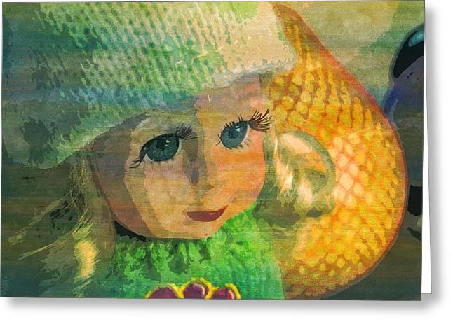 Macro Baby Doll Pomelo Hair  Greeting Card by PixBreak Art
