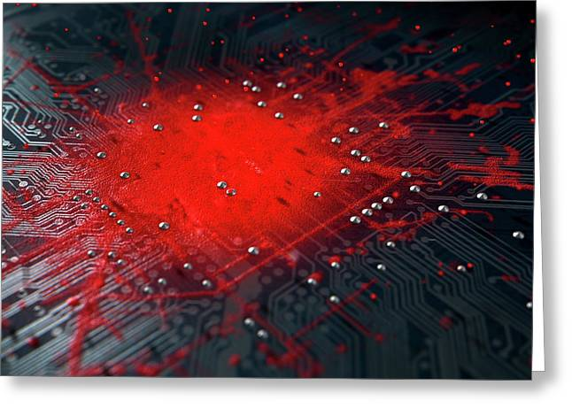 Macro Circuit Board Infection Greeting Card