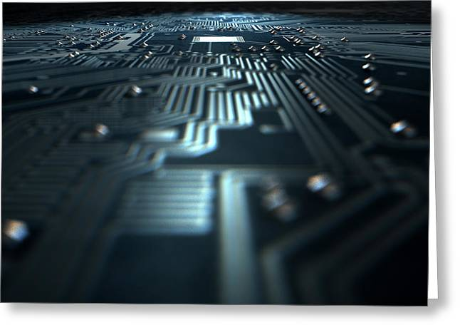 Macro Circuit Board Technology Greeting Card by Allan Swart