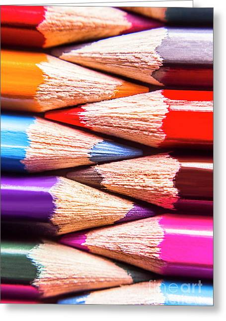 Macro Coloured Pencil Crossover Greeting Card by Jorgo Photography - Wall Art Gallery