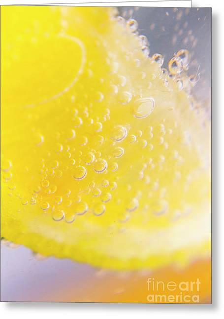 Macro Lemonade Bubbles Greeting Card by Jorgo Photography - Wall Art Gallery